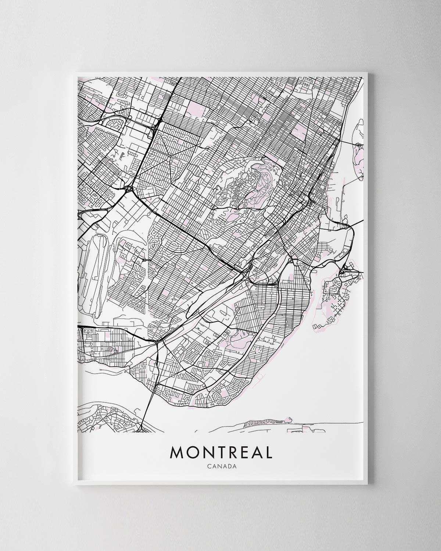 graphic regarding Printable Map of Montreal identify Montreal Map Print