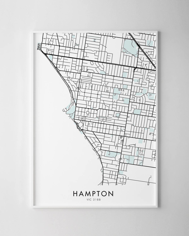 Melbourne Hampton Map Print Chelsea Chelsea